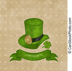 Green hat, clover, ribbon in saint Patrick Day