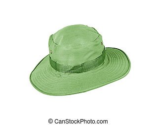 Green hat isolated on white background.