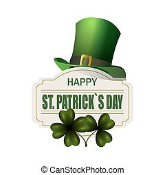 Green hat. Two leaf clover. Happy St. Patrick s Day inscription. Isolated on white background. illustration