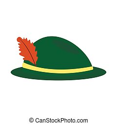 Green hat with a feather icon