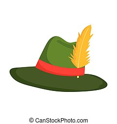 green hat with feather acccesory isolated icon over white background
