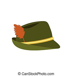 Green hat with feather icon, flat style - icon in flat style...