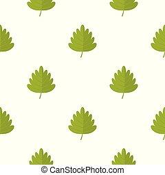 Green hawthorn leaf pattern seamless