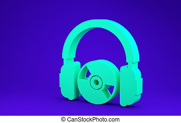 Green Headphones and CD or DVD icon isolated on blue background. Earphone sign. Compact disk symbol. Minimalism concept. 3d illustration 3D render