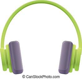 Green headphones icon, cartoon style