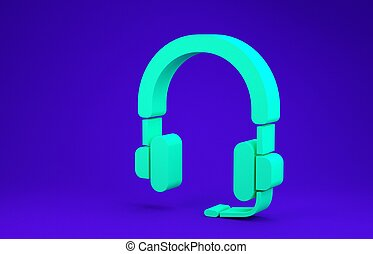Green Headphones icon isolated on blue background. Earphones. Concept for listening to music, service, communication and operator. Minimalism concept. 3d illustration 3D render