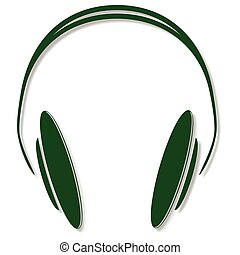 green headphones icon with shadow