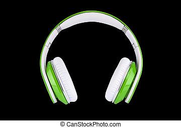 Green headphones on black backgroun - Technology for...