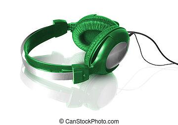 headphones - green headphones with reflection isolated on ...