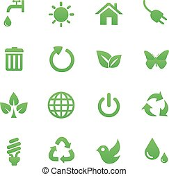 Green Health Icons Set