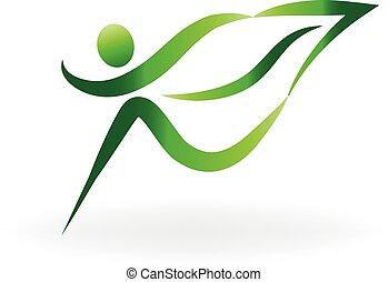 Green health nature people logo