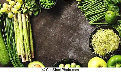 Green healthy food composition with avocado, broccoli,...