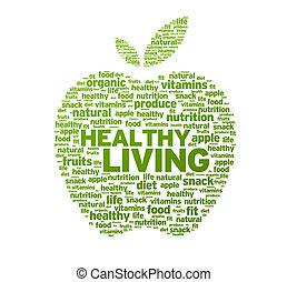 Green Healthy Living Apple Illustration on white background.