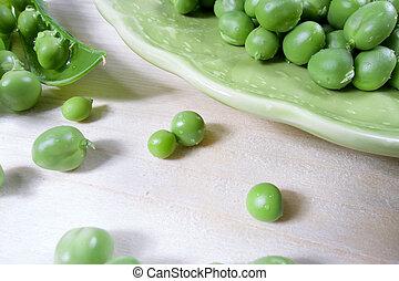 Green healthy vegetarian raw food of peas