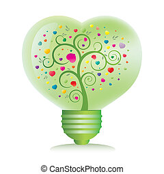 green heart light bulb