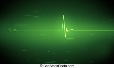 Green heart monitor line in green - Green ECG heart monitor...