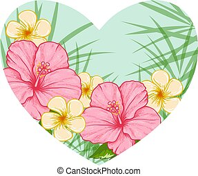 Green heart of tropical flowers