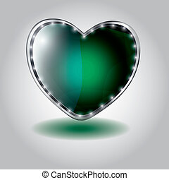 green heart shaped glass button. vector illustration on valentine`s day
