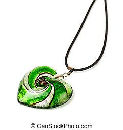 heart-shaped pendant - green heart-shaped pendant isolated...