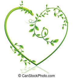 Green Heart - illustration of heart made of green creeper