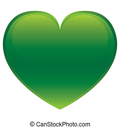 Green Heart - Vector - Green glossy vector heart isolated on...