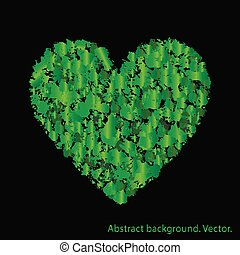 Green heart with abstract textures.