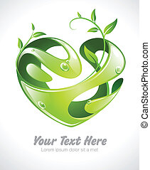 green heart with growing leaves