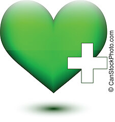 Green heart with white plus