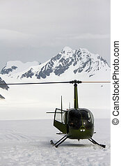 Green Helicopter on Glacier Alaska