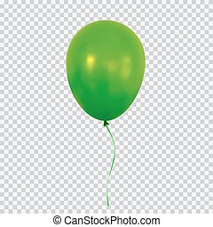 Green helium balloon isolated on transparent background.