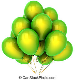 Green helium balloons (Hi-Res) - Bunch of beautiful helium...
