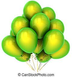 Green helium balloons (Hi-Res) - Bunch of beautiful helium...