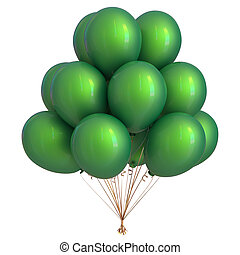 Green helium balloons party decoration glossy