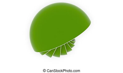 Green hemispheres or bowls fit each other. 3D design,...