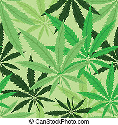 Green hemp floral seamless background, cannabis leaf...