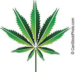 Green hemp leaf or cannabis leaf