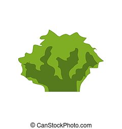 Green herbal plant isolated on white. Bush with brown branches, app game UI or web element icon. Vector illustration