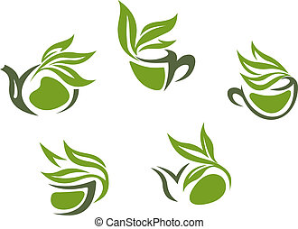 Green herbal tea symbols