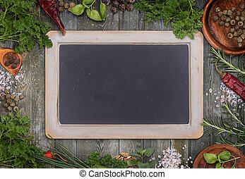 Green herbs as frame