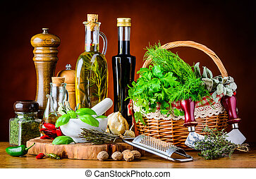 Green Herbs, Cooking Oil and Spices
