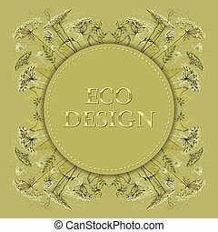 Green herbs floral background. Vector circle eco label design.