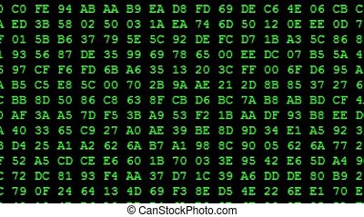 Green Hexadecimal code running up a computer screen. Green...