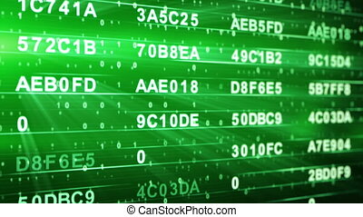 green hexadecimal data columns loop - green hexadecimal data...