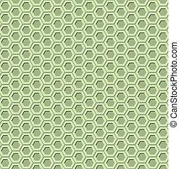 Green hexagon seamless pattern with 3d effect