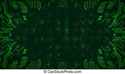 Green Hi-Tech Circuit Board Background. Computer Generated Seamless Loop Abstract Animation.