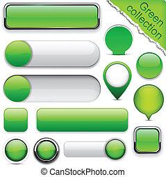 Green high-detailed modern buttons. - Blank green web...