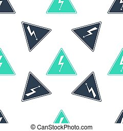 Green High voltage sign icon isolated seamless pattern on white background. Danger symbol. Arrow in triangle. Warning icon. Vector