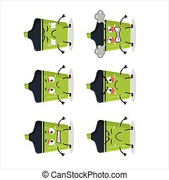 Green highlighter cartoon character with various angry expressions