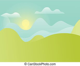 Green Hills and Blue Sky with Shining Sun Vector