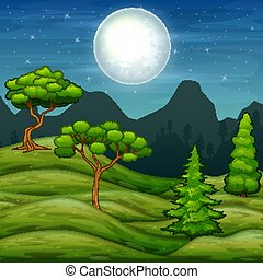 Green hills landscape and trees at night